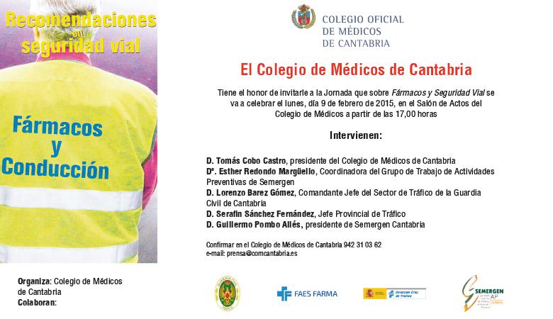 Jornada sobre ''Fármacos y Seguridad Vial'', celebrada en el Colegio de Médicos de Cantabria