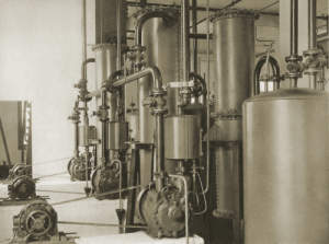 "Photograph of ""Powerful deep vacuum pumps are needed for several operations..."""