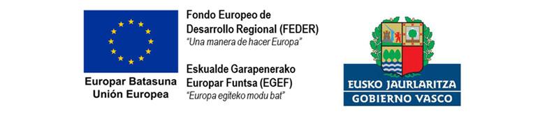 Logotipos de FEDER-EGEF, Unión Europea y Gobierno Vasco